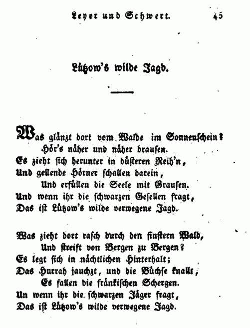 """wydanie wiersza Körnera z tomu """"Leier und Schwert (""""Lira i miecz"""")"""
